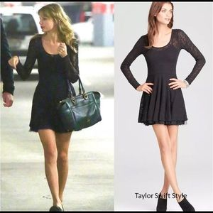 Free people lace skater dress black toole